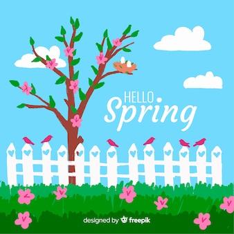 Hand drawn spring garden background