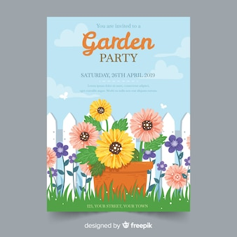 Hand drawn spring garden party invitation