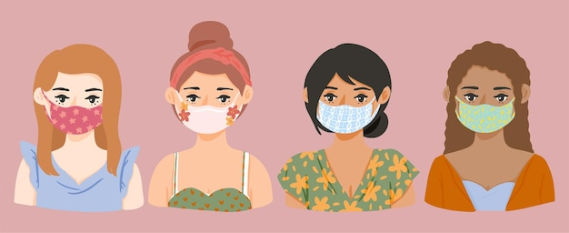 Hand drawn spring girls with mask avatar character illustration