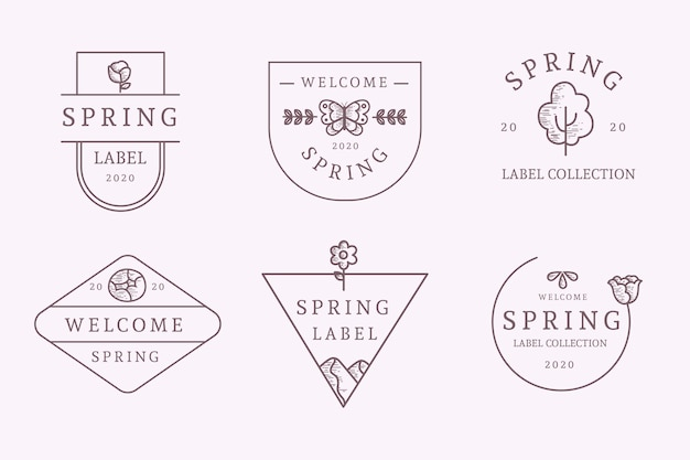 Hand-drawn spring label collection style