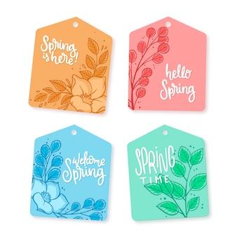 Tema della collezione di etichette primavera disegnate a mano
