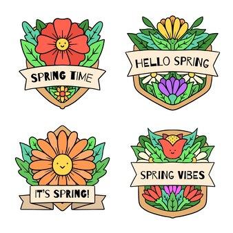 花の花と手描き春ラベルコレクション