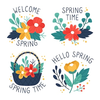 Hand drawn spring labels collection