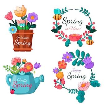 Hand drawn spring labels set