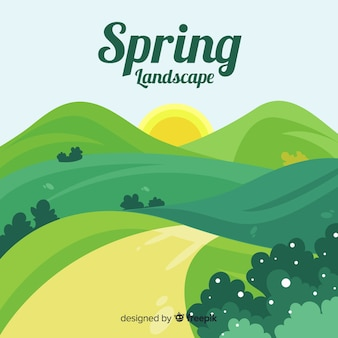 Hand drawn spring landscape background