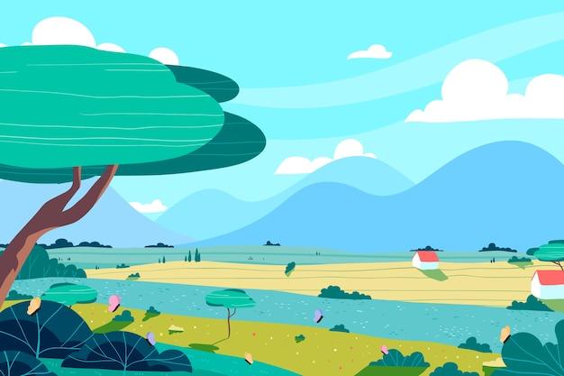 Hand-drawn spring landscape concept