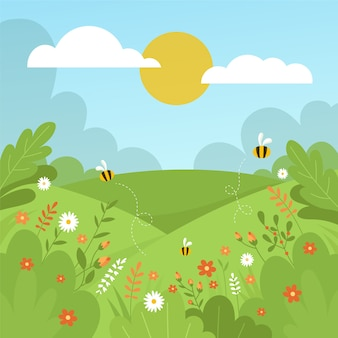 手描きの春の風景のテーマ
