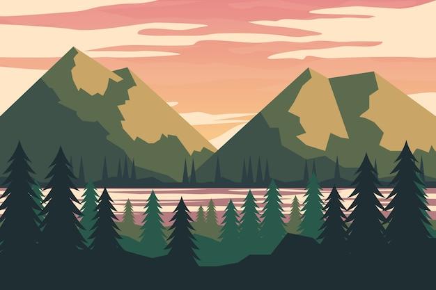 手描きの湖と山の春の風景