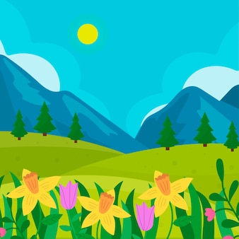 Hand drawn spring landscape with mountains and flowers