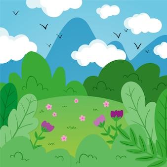 山と手描きの春の風景