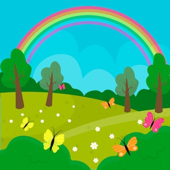 Hand drawn spring landscape with rainbow and nature