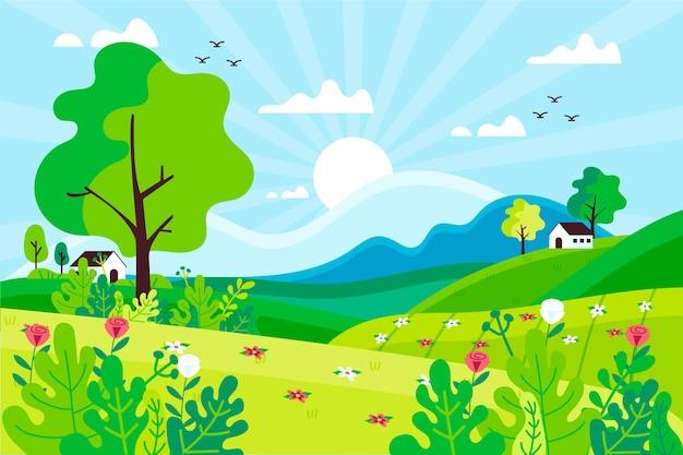 Hand-drawn spring landscape