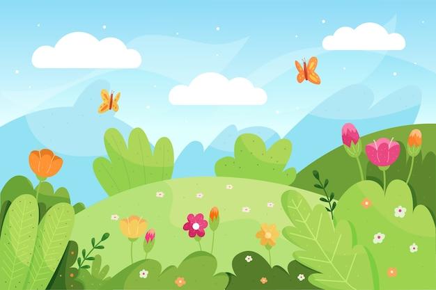 Ручной обращается весенний пейзаж