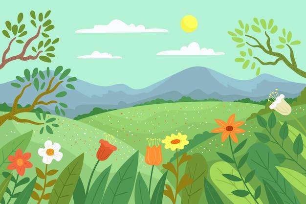 손으로 그린 된 봄 풍경