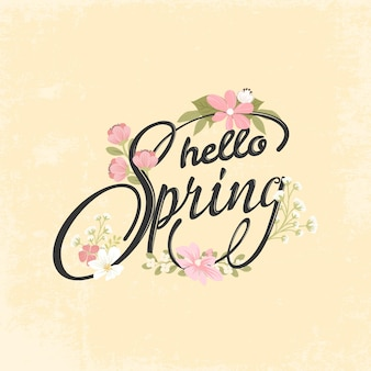Hand drawn spring lettering background