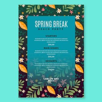 Modello di menu primavera disegnato a mano