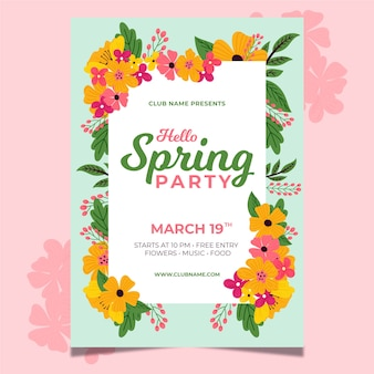 Hand-drawn spring party flyer template theme