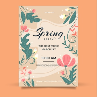 Hand-drawn spring party flyer template