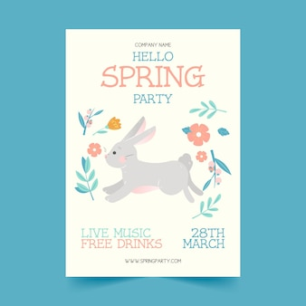 Hand drawn spring party flyer template