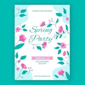 Нарисованный рукой шаблон плаката весенней вечеринки с цветами