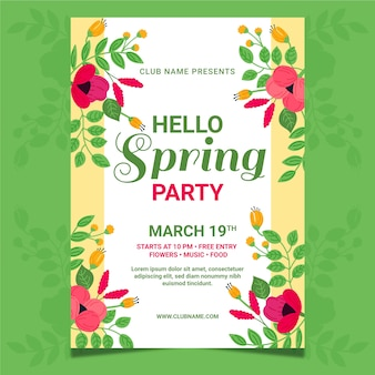 Hand-drawn spring party poster template