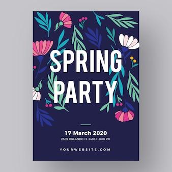 Нарисованный рукой шаблон плаката весенней вечеринки