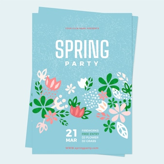 Hand drawn spring party poster template