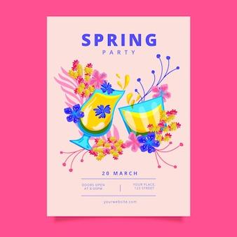 手描きの春のパーティーポスター