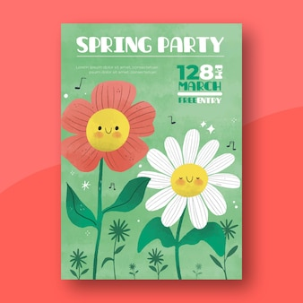 손으로 그린 봄 파티 포스터
