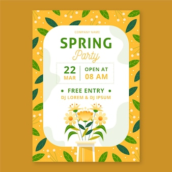 Hand drawn spring party vertical poster template