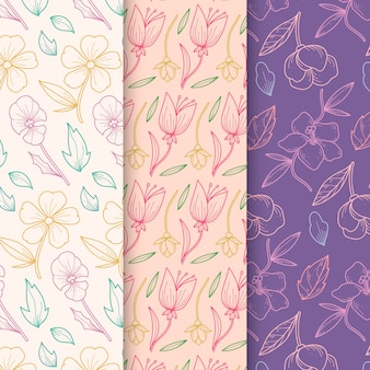 Hand drawn spring pattern collection in floral design