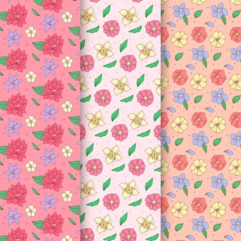 Hand drawn spring pattern collection with assortment of flowers