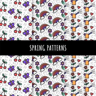 Hand drawn spring pattern collection with cherries and butterflies