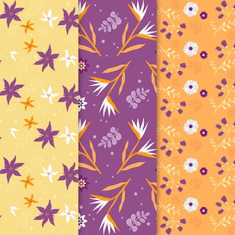 Hand drawn spring pattern collection with colorful flowers