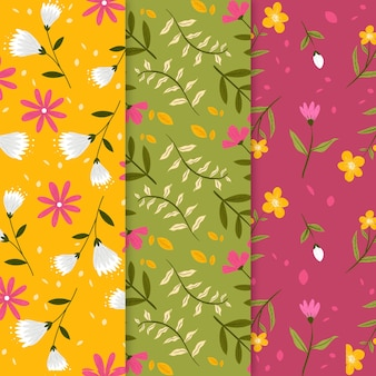 Hand drawn spring pattern collection with flowers