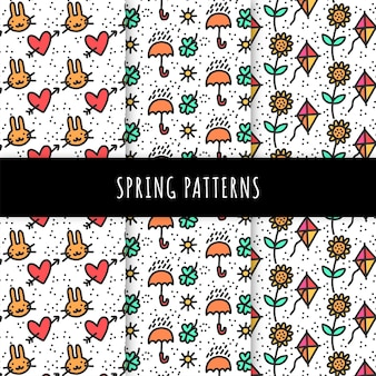 Hand drawn spring pattern collection with umbrellas and kites