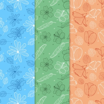 Hand drawn spring pattern pack