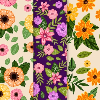 Hand drawn spring pattern set with field flowers