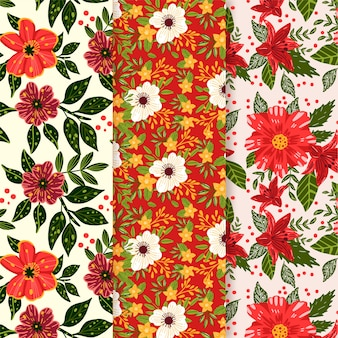 Hand drawn spring pattern set with red and white flowers