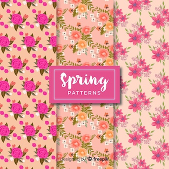Hand drawn spring pattern set