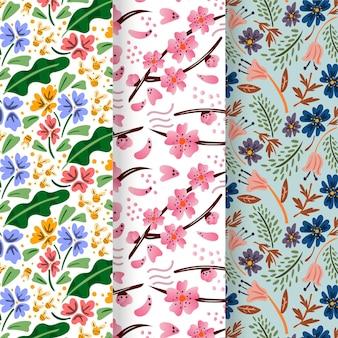 手描きの春のパターンセット