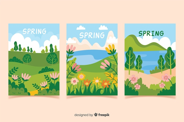 Hand drawn spring poster collection