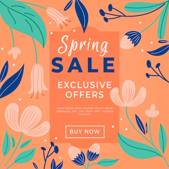 Hand-drawn spring promotional sale concept