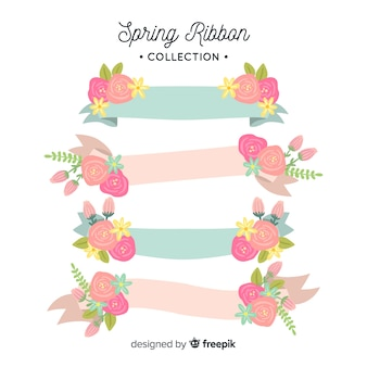 Hand drawn spring ribbon collection