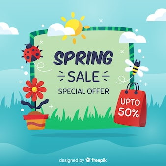 Hand drawn spring sale background