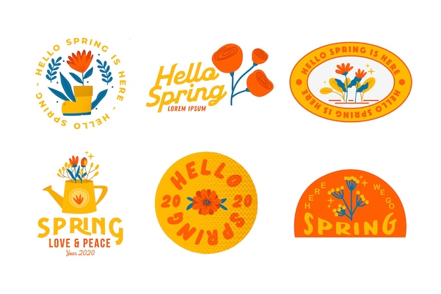 Hand drawn spring sale badges pack