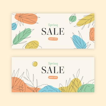 Hand-drawn spring sale banner collection concept