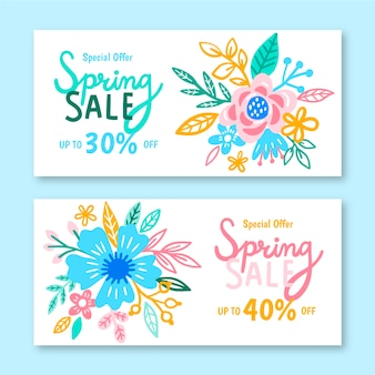 Hand-drawn spring sale banner collection design
