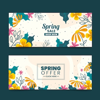 Hand-drawn spring sale banner collection theme