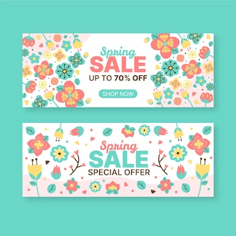 Hand-drawn spring sale banner collection
